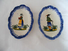 Henriot   Quimper  Pair  Of  Small  Pin  Dishes  With  Man  &  Woman  Decoration