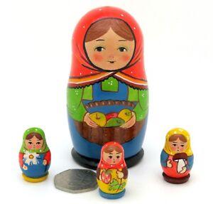 Russian nesting dolls KOROBEINIKI 4 SMALL MATT Matryoshka Girls Ryabova signed