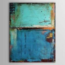 MODERN ABSTRACT HUGE OIL PAINTING ON CANVAS,Vintage Blue Color 24x36in No Framed