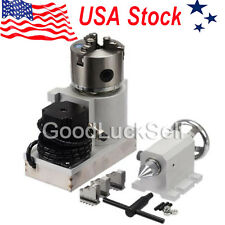 CNC Lathe Router Rotational Rotary Axis, A-axis, 4th-axis,3Jaw Chunk & Tailstock