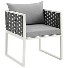Stance Outdoor Patio Aluminum Dining Armchair - White Gray