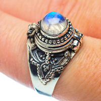Rainbow Moonstone 925 Sterling Silver Ring Size 8.5 Jewelry R35885F