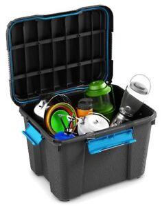 Black 45 Litre Water Resistant Mobile Plastic Trunk Damp Area Storage Scuba Box