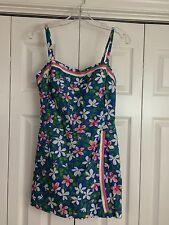 GABAR Sz 16 Vtg One Piece Cotton Swimsuit Romper Sewn In Bra Floral Pattern