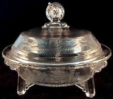 Grace Oriental Covered Butter Dish Clear Pattern Glass Richards Hartley #1 1881