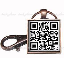 "QR Code Custom Identification Scan Tag Glass Top Key Chain 1"" Copper Keychain"