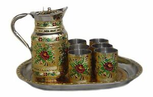 Stainless steel Jug glass set Pitchers glass Tray for Serving Kitchen Tableware