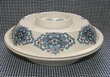 "Vtg 60s-70s New Devon veg tureen covered bowl 10"" 25cm retro blue lilac tulip"
