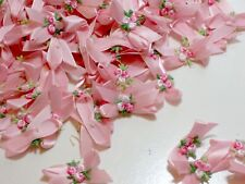 Pink Flower Bows, Pink Satin Bow Appliques, Offray Pink Flowers, 10 pieces
