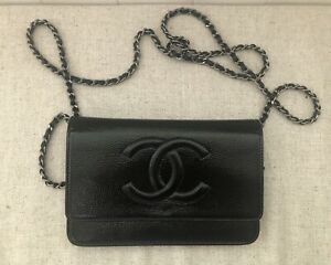 100% Authentic Chanel Black Patent Leather Timeless Wallet On Chain WOC Bag