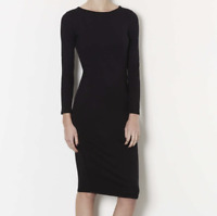 Topshop Womens Midi Fitted Dress Size 8 Solid Black Long Sleeve Pull On A408
