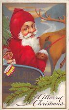 D59/ Santa Claus Merry Christmas Postcard 1915 Calla Ohio Sleigh Reindeer 22