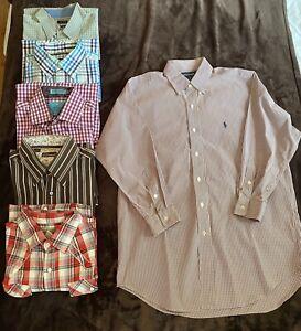 Lot Of 6 Mens Long Sleeve Button Up Collared Shirts Medium Chaps, Ralph Lauren..