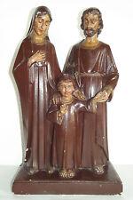 04B50 STATUE PLÂTRE POLYCHROME SAINTE FAMILLE JESUS 42 CM SIGNEE J.DOMMISSE