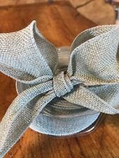 Blue / Turquoise Hessian Ribbon, Jute, Burlap, 38mm Wide, Wired, Lovely For Bows