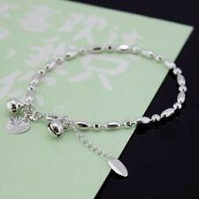 "18k White Gold Filled Rice Beads Bracelet 8.6""Chain Link Dangle GF Charm Jewelry"