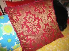 LARGE RED & GOLD MEDALLION FLEUR TEXTURED CHENILLE SQUARE EURO PILLOW 22 X 22