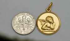 10K solid gold guardian angel medal / pendant