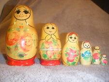 6 pc  MAMA doll  MATRYOSHKA NESTING WOODEN DOLLS WOOD nice RUSSIAN