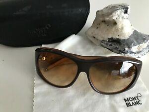 Sonnenbrille Mont Blanc Meisterstück braun MB166S Q31 Strass gebraucht Lederetui