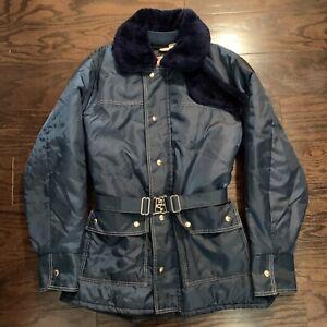 Vintage JC Penney Snowmobile Jacket Coat Womens Size LARGE Blue Belted Vtg EUC
