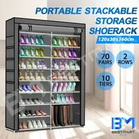 Portable Shoe Storage Rack Stackable 2 Row Wardrobe Cabinet Stand Organiser