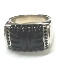 John Hardy Sterling Silver Rectangular Top Carved Onyx & Sapphire Ring