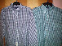 NWT NEW mens purple teal navy blue plaid CROFT & BARROW fitted dress shirt $45