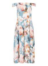 Bardot Style Blue Flower Floral Pattern Dress Size 12 Wedding Cruise Party