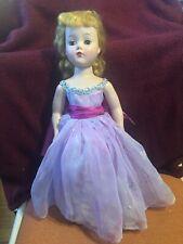 """Vintage 18"""" R&B Blonde Walker Doll - Purple Formal Dress, Original Hair"""