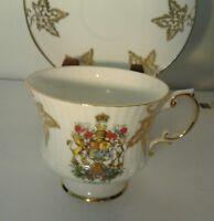 Elizabethan Fine English Bone China Canada Tea Cup & Saucer Gold Leaf / Crest