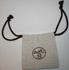 "HERMES Brown Logo Accessory Jewelry Drawstring 3.5"" NEW"