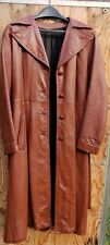 Woman's Long Leather Coat.  Brown with Belt.  Size M