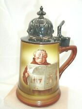 Vintage Beer Stein, English? Monk, Silver Plated Lid, Porcelain Body 7.5 Inches