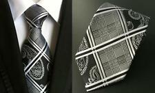 Grey and Black Patterned Handmade 100% Silk Tie