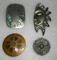 4 Different Mexican Vintage Sterling Silver Abalone Copper Pin Pins LOT