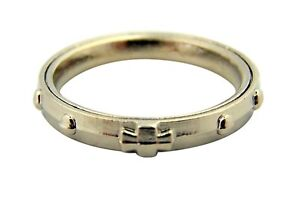 Silver Tone One Decade Rotating Rosary Ring with Cross, Small