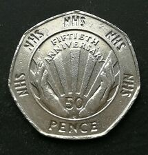 1998 50P COIN RARE NATIONAL HEALTH SERVICE NHS FIFTY PENCE 50 YEARS