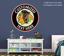 PERSONALIZED CHICAGO BLACKHAWKS Wall Decal (Removable and Replaceable)