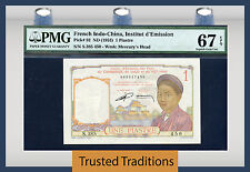 TT PK 92 1953 FRENCH INDO-CHINA 1 PIASTRE PMG 67 EPQ SUPERB GEM POP 3 NONE FINER
