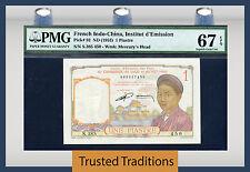 TT PK 92 1953 FRENCH INDO-CHINA 1 PIASTRE PMG 67 EPQ SUPERB GEM POP 3 NONE FINER