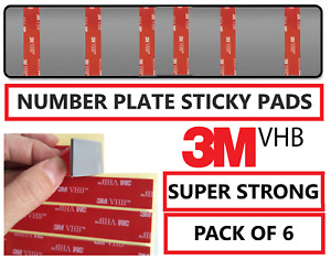 6 x Number Plate Sticky Pads Strips Double Sided Tape Self Adhesive Strong 3M
