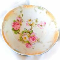 Vintage Germany White & Peach Lusterware Bowl. Hand Painted Pink & White Roses
