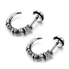 Vintage Stainless Steel Horn Men's Boy's Stud Earrings Cool Look New