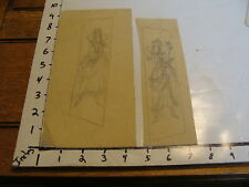 Miller Richardson art: # 155 : 2 SKETCHES OF FAIRIES ON TRACING PAPER