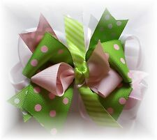 Lot (1).. 4 1/2 - 5 inch A little Bit of Summer pink lime Boutique Hair Bow
