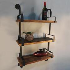 Bedroom Kitchen 3-Tier Rustic Industrial Iron Pipe Wall Shelves Display H6K7