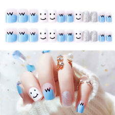 24Pcs French False Nails Fake Full Nails Art Tips Cute Acrylic Artificial Blue