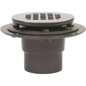NEW! Round Gray PVC Shower Drain with 4-1/4 in. Round Snap-In Stainless Steel