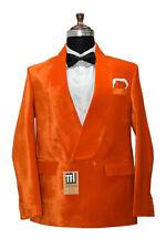 Homme Orange Velours Veste Blazer Créateur Double Boutonnage Dîner Blazer